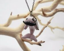 Cute Whale Charm Necklace Jewelry Polymer Clay Pink Sea Animal Sir Whalington