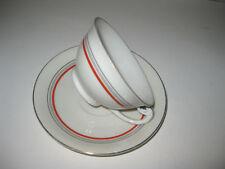Vintage PORCELAIN MZ CZECHOSLOVAKIA TEA CUP & SAUCER SET--3 Color Bands