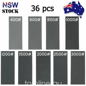 36x Sandpaper Wet Dry Sanding Sheet 400 600 800 1000 1200 1500 2000 3000 Grit AU