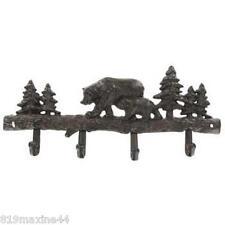 Dark Brown Cast Iron Bear Coat Rack with 4 Hooks ** free shipping**