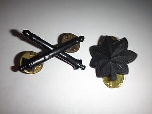Set 2 États-Unis Métal Attenué Badges: Field Artillerie Insignes + Lt Colonel