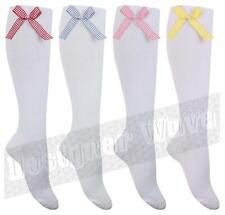 School Socks White Bow Check Gingham Summer Uniform Knee High Girls 4 Sizes 1C