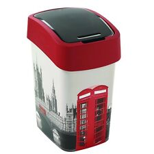 Curver Abfallbehälter 25l Schwingdeckel Mülleimer Flip Bin London Motiv Eimer
