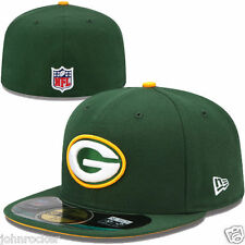 GREEN BAY PACKERS NFL OFFICIAL ON FIELD NEW ERA 59FIFTY FITTED GREEN HAT/CAP NWT