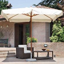 Ombrellone da giardino 3x3 metri con palo centrale in teak e telo ecrù antivento