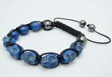 Shamballa macrame TURQUOISE BLUE SKULL BEAD, HEMATITE Beaded Adjustable Bracelet
