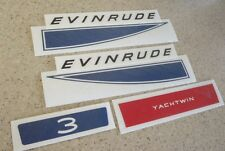 Evinrude Yachtwin 3 HP Vintage Outboard Motor Decal FREE SHIP + Free Fish Decal!