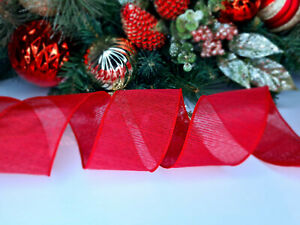 CHRISTMAS WIRED EDGE RIBBON 2.5 IN WIDE RED TREE WRAP GIFT WRAPPING BULK