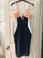 Boohoo Colour Block S: 12/14 Midi Stretchy Summer Bodycon Dress Navy Peach 🍑NEW
