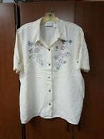 Ladies Size 14 Alfred Dunner Button-front Embroidered Short Sleeve Blouse