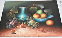 Original Still Life Painting Vase Bowl Fruit Oil on Canvas 11 x 10 Signed Rafael