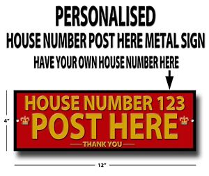 """PERSONALISED POST HERE -THANK YOU - METAL SIGN - SIZE 12"""" X 4"""" - POST / MAIL BOX"""