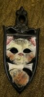 Vintage Royal Japan Ceramic Cat w yarn Trivet strange cut out eyes iron shaped