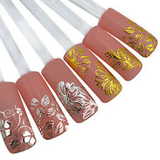 3D Nail Art Stickers Decals Wraps Metallic Gold Lace Bowknot Flowers Gel Polish