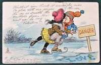 Kissing Ice Skaters antique R.F.Outcault Valentine Raphael Tuck Post Card
