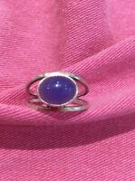 STERLING SILVER 925 Ring Blue Stone Size N O