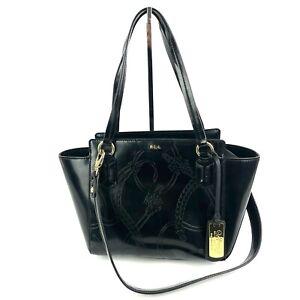 Ralph Lauren Handbag Black Patent Leather Equestrian Tooled Dual Strap Purse