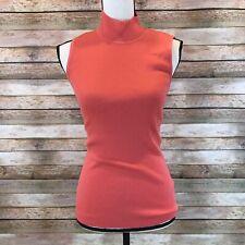 St John Marie Gray Womens Size S Small Ribbed Wool Blend Sleeveless Sweater