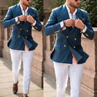 Gold Button Suits For Men Double-breasted Groom Wedding Party Prom Tuxedos Lapel
