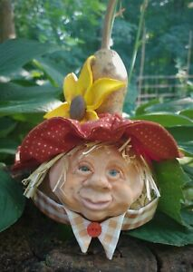 Gourd Scarecrow Fall Sunflower Decor Artist made OOAK Unique Free Shipping
