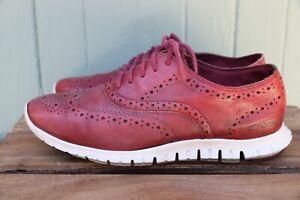 Cole Haan ZeroGrand Red Leather Wingtip Casual Sole Shoe Women's SZ 7B