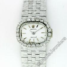 d22248bee46f Rolex Precision 18k Oro Blanco Diamante Bisel 18mm Cojín Mano Viento Reloj