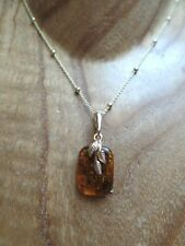 Yellow Gold on Sterling Silver and Cognac Amber Necklace Taurus Birthstone