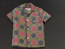 Vintage Ken Doll Button Down Shirt with Pocket Green Blue Pink Geometric Tagged
