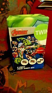 Avengers Twin 3 Piece Microfiber Sheet Set Thor Hulk Iron Man Marvel New!