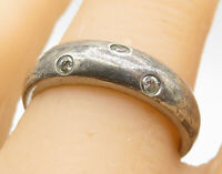 925 Silver - Vintage Petite Round Cut Topaz Inlay Smooth Band Ring Sz 8 - R8606