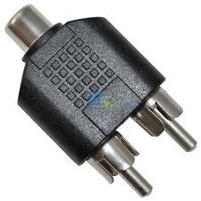 Nickle RCA 1 Female to 2 Male Audio AV Plug Adaptor Splitter Adapter Connector