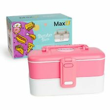 Max K Bento Box 2 Trays with Handles and Utensils, Pink