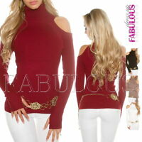 New Sexy Women's Ladies Off Bare Cold Shoulder Jumper Sweater Size 6 8 10 XS S M