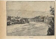 Stampa antica BASSANO DEL GRAPPA panorama Vicenza Veneto 1896 Old antique print