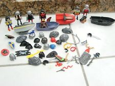 Lot of  Playmobil Geobra Figures and accessories Rocks Skidoos Weapons +