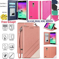 LG K10 2018, K30, MS425, X410 Two Tone Flip Folio Credit Card Slot Wallet Case