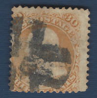 1861 US STAMP #71 USED 30c FRANKLIN WITH INTERESTING DOUBLED CROSS CANCEL