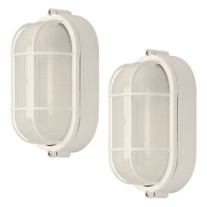 2 Pack Weatherproof Bulkhead Oval Flushmount Exterior Light Wet Locations, White