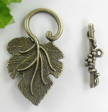 Free Ship 5Sets Bronze Plated Leaf Toggle Clasps Fit Bracelet 37x23mm