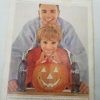 1964 Coca Cola Halloween Ad Pumpkin Jack O Lantern Magazine Ad Coke Original