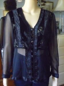 OrientiQue black sheer blouse size 12 NWT long sleeve steam punk FREE POST