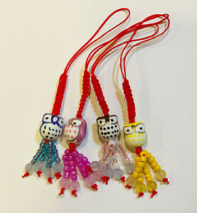 String Strap Charm for Cell Phone, key chain, or Handfan in Design of Owl