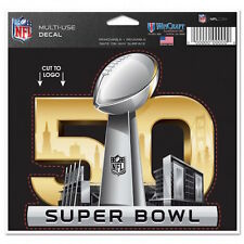 """SUPER BOWL 50 YEARS NFL 4.5"""" X 5.75"""" MULTI-USE DECAL San Francisco Bay Area Ca"""