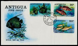 Antigua 444-6 on FDC - Fish