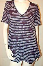 Calvin Klein Blue Tye Dye Striped Design Top Sz M
