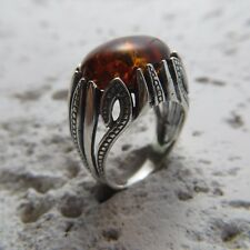 Size 7 (EU Size 54) Cognac / Brown BALTIC AMBER Ring, 925 STERLING SILVER #2056