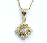 Diamond cluster pendant necklace 14K Y/ gold round brilliant .30CT Mariner chain