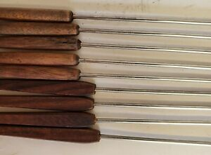 Vintage Oster Fondue Forks Set of 9 Stainless Steel and Wood Handles