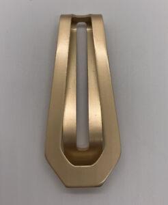 Modernist Open Design Money Clip Vintage Gold Tone Aluminum