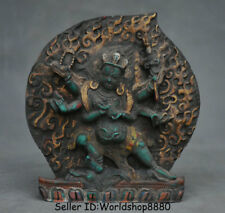 "4.8"" Old Tibet Buddhism resin 6 Arms Mahakala Wrathful Deity Buddha Statue"